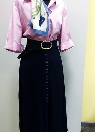 Темно синяя юбка миди  +блузка р 12