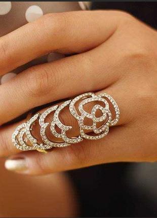 Массивное двойное кольцо золото камни стразы asos бижутерия ук...