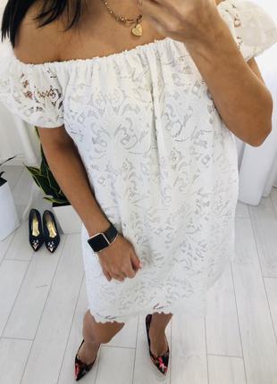 Белое платье сарафан из кружева