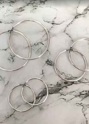 Набор сережек серьги кольца круглые колечки серебро разный диа...