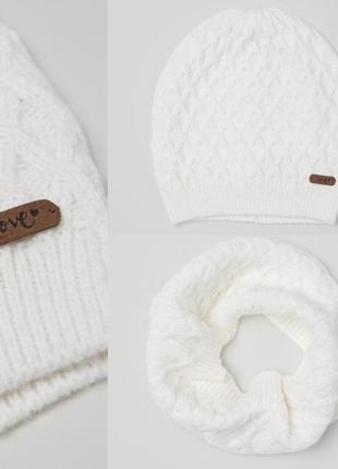 Комплект на девочку h&m белый шапочка и снуд