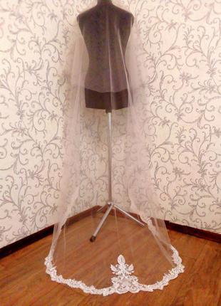 Свадебная фата длинная купон