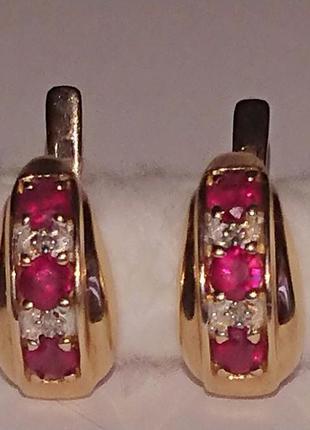 Золотые серьги природные рубины бриллианты золото 585