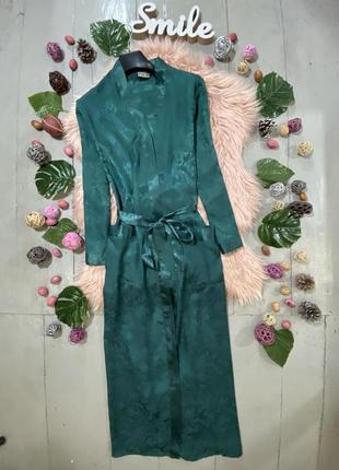 Сатиновый халат изумрудного цвета №1