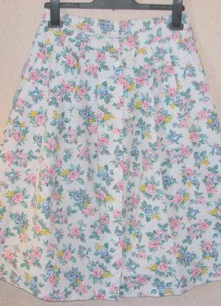 Винтаж юбка  в цветочек высокая талия р м