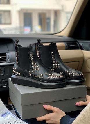 Шикарные женские кожаные ботинки chelsea челси alexander mcque...