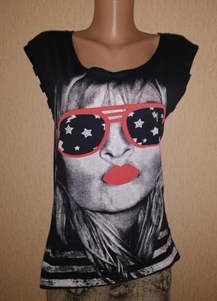 🔥🔥🔥стильная женская трикотажная футболка с принтом e-vie🔥🔥🔥