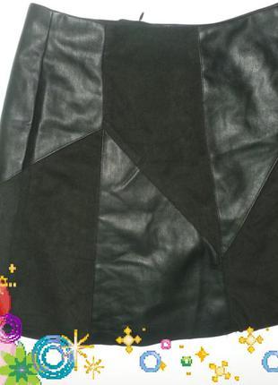 Черная мини юбка трапеция эко кожа текстиль
