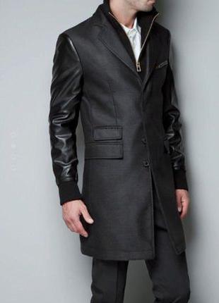 Мужское пальто тренч с шерстью и рукавами из кожзама р. L/XL ZARA