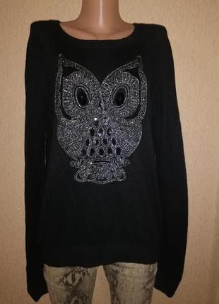 🔥🔥🔥стильная теплая женская кофта, свитер, джемпер с совой h&m🔥🔥🔥