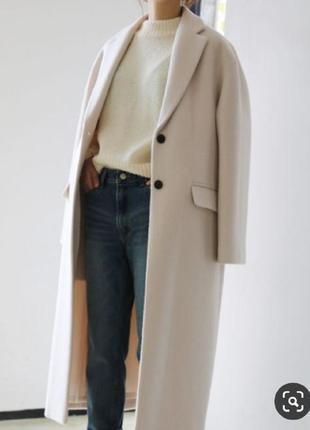 Молочное кашемировое пальто шерстяное классическое кашемірове ...