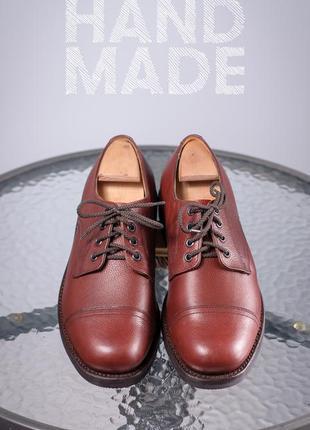 Кожаные дерби ручной работы 42,5-43 мужские туфли кожа шкіра ч...