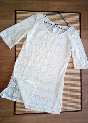 Красивое ажурное  платье  - туника для пляжа