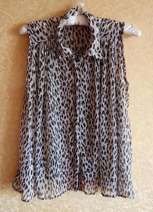 Шикарная шифоновая блуза леопардовая, распродажа