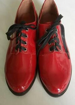 Красные лаковые туфли,натуральная кожа/супер цена