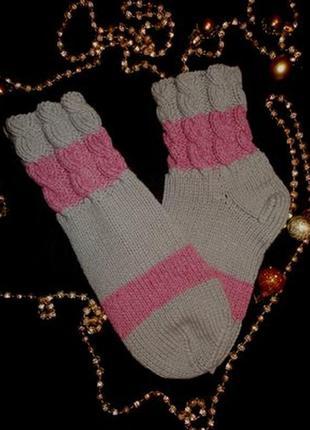Красивенные вязаные носки теплые, комнатные носки тапочки, асс...