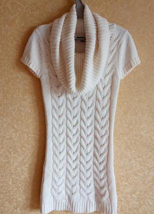 Теплое белое платье туника вязаное платье с хомутом