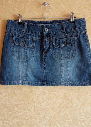 🥰джинсовая мини юбка с накладными карманами/тотальная распрода...