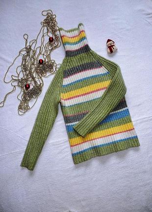 🌸очень теплый свитер в полоску фактурная вязка резинка/тотальн...