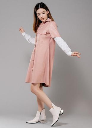 Платье из кожзама, женское платье из эко-кожи розовое
