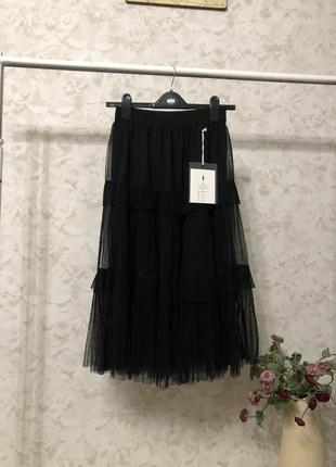 Черная фатиновая юбка плиссе, новая!