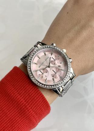 Женские часы металлические серебристые с розовым с датой