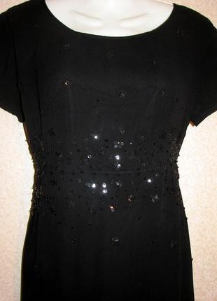 Красивое черное платье с вышивкой бисер