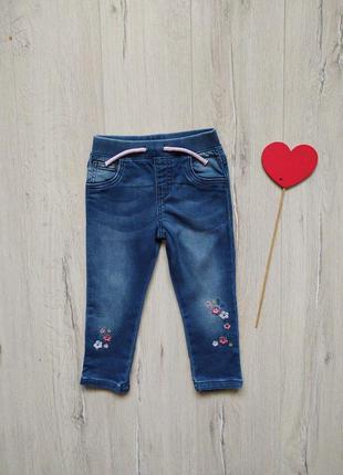 9-12 мес, джинсы с вышивкой f&f.
