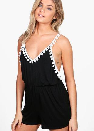 Чёрный с белым ромпер пляжный