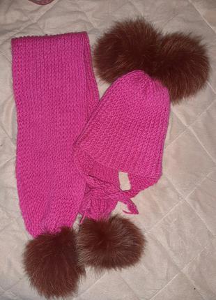 Набор шапка и шарф с бубонами