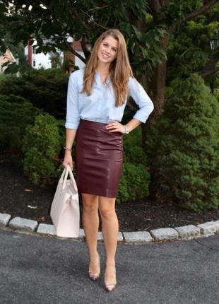 Бордово-коричневая юбка с качественнейшей экокожи