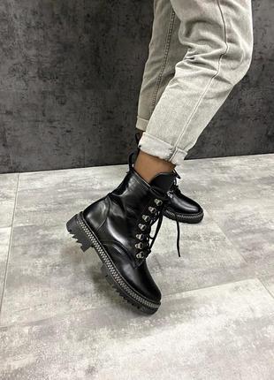 Натуральные кожаные замшевые демисезонные женские ботинки на ш...