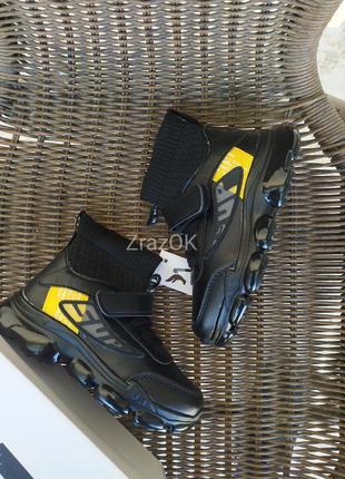 Черные высокие кроссовки ботинки демисезонные весенние на липу...