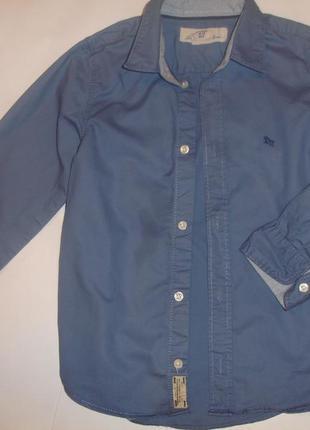 Фирменная голубая рубашка хлопок мальчику 5-6 лет идеал