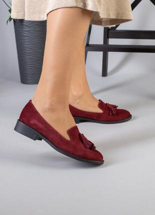 Туфли марсала на невысоком каблуке