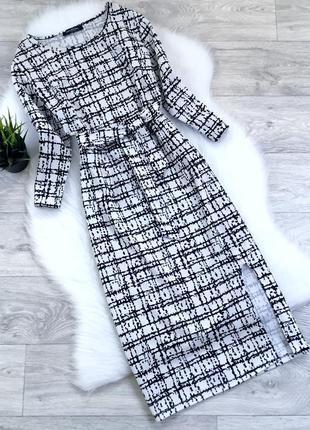 Платье миди с поясом и разрезом по ножке