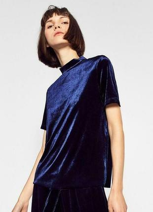 Синяя бархатная блуза топ футболка под горло