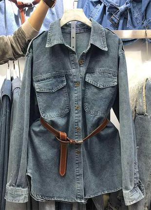 Джинсовая удлиненная рубашка с поясом
