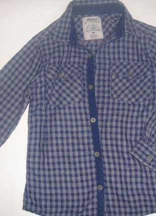 Фирменная rebel теплая рубашка мальчику 6-7 лет хлопок идеал