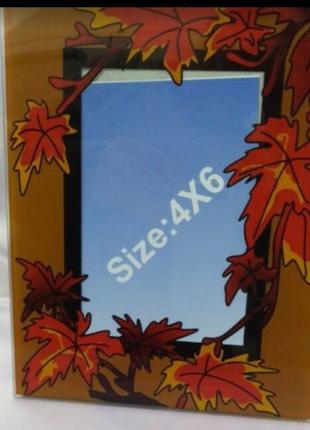 """Стеклянная рамка для фотографии """"Осень""""."""