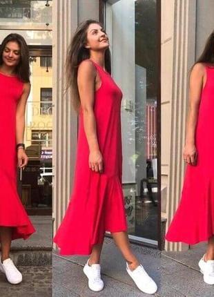Платье длинное с оборкой красного цвета р.50-52
