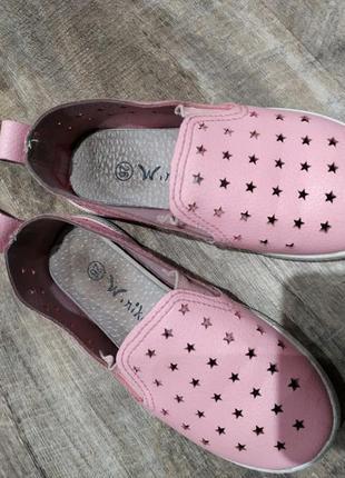 Розовые мокасины, туфли легкие на девочку 26 р.