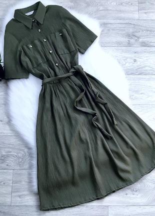 Плиссированное платье миди с поясом