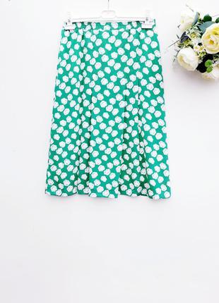 Шикарная юбка миди зелёная юбка трапеция