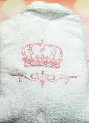 Махровый женский халат индивидуальная вышивка