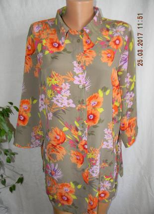 Блуза-рубашка с ярким принтом большого размера
