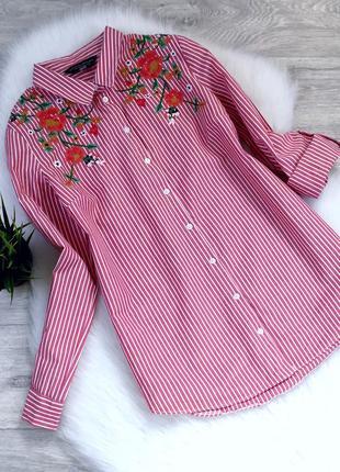 Рубашка в полоску и с вышивкой