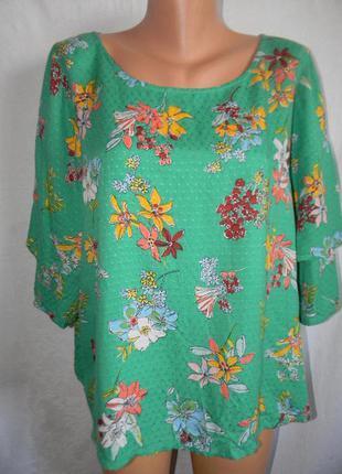 Натуральная блуза с принтом цветы marks & spencer