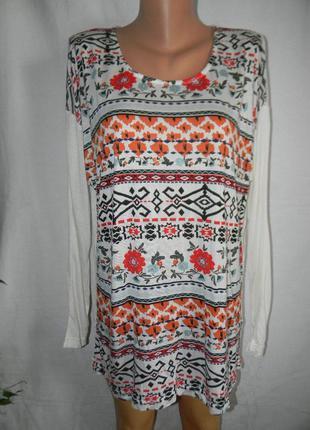 Натуральная трикотажная блуза с принтом