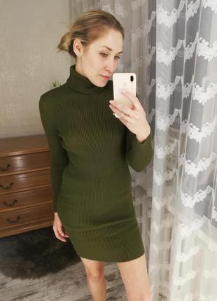 Платье гольф, платье рубчик, платье резинка, платье осень